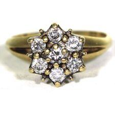 Splendido 0.70ct DIAMOND CLUSTER 9ct Anello Oro Giallo Taglia M ~ 6 1/4