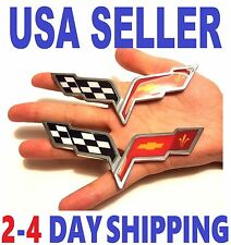 x2 CORVETTE 2X PIECES Cross Flags Car CHEVROLET TRUCK EMBLEM Sign BADGE Logo Fv