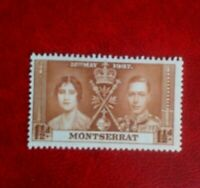 1937 KING GEORGE V1 CORONATION 1 1/2d MONTSERRAT POSTAGE STAMP mint hinged