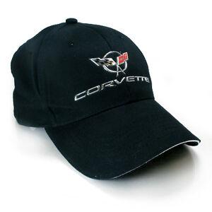 Chevrolet Corvette C5 Chrome Metal Look logo Black Baseball Cap