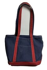 LL Bean Medium Navy/Red Boat And Tote Bag Canvas Made In USA Zipper Top