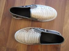 Coach Chrissy leather slip-on flats, Size 7.5, worn once, black, gray ivory tan