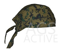 GREEN DIGITAL CAMO SKULL CAP Du Rag Head Wrap Motorcycle Hat Biker Doo Bandana