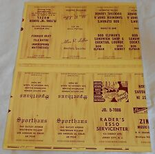 4 UNCUT SHEETS OF  matchbook Memorabilia Advertizing  Maybe one of a kind