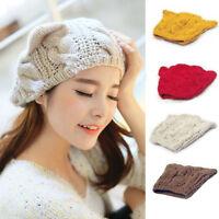 Bonnet tricot pour femme hiver tressé mignon avec des oreille de chat