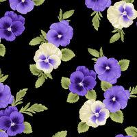 Accent On Pansies Benartex Quilt Fabric Pansy Abundance Black 0256712B Beautiful