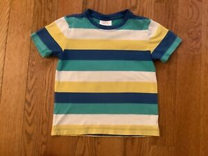 Hanna Andersson Boys Sz 4 or 110 cm White, Blue, Yellow & Green Stripe Top