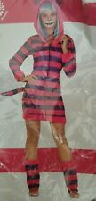 Woman's Adult cat costume. Hooded dress with tail and leg warmers. size M 10/12