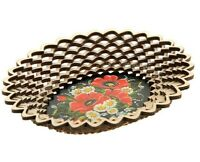 Cookie Snack Chips Candy Serving Plate Platter Bowl Dish w/ Poppy Flower Pattern