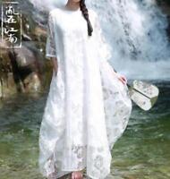 Retro Womens Cotton Linen Loose Beach Dress Short Sleeve Long Blouse Dress Free