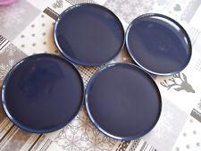 TOP 4 Kuchenteller  Melitta Stockholm ( Ceracron ) blau 60er 70er Vintage Shabby
