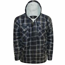 Mens Sherpa Fleece Zip Shirt Fur Padded Lumberjack Thick Hooded Flannel Jacket