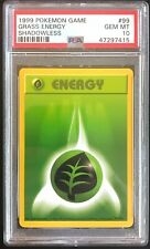 1999 Pokémon Base Set Grass Energy Shadowless PSA 10