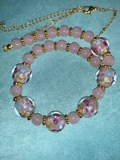 Vintage Pink w/ Gold & Blue Flowers Lampwork Art Glass Bead Necklace Chain
