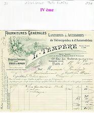 Paris IVème - Belle Entête Lanternes & Accessoires de Vélos & d'Autos 18/04/1905