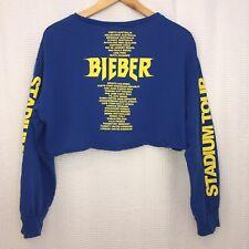 Justin Bieber Purpose The Stadium Tour Womens Medium Cropped Top Blue Sweatshirt