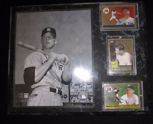 """MICKEY MANTLE HALL OF FAME PLAQUE, PHOTO, 3 TOPS CARDS """"HR 200 & 210"""" & PICTURE"""""""