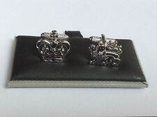 LION & CROWN CUFF LINKS, by ONYX-ART of LONDON. GREAT GIFT. CK897