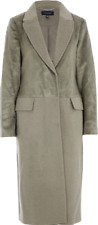 Karen Millen womens coat faux pony fur wool blend longline winter overcoat UK 16