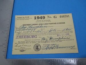 Vintage 1949 Illinois Resident Hook & Line Fishing License Roy Humphries S2623