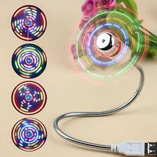 USB Desk Fan Flexible Desktop Mini USB Fan Clock With LED Light For PC Laptop