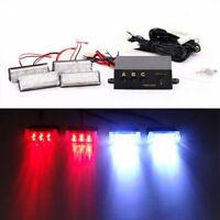 White Red 12LED Car Police Strobe Flash Light Emergeny Warning Flashing Lamp