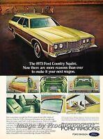 1973 Ford LTD Country Squire Wagon Original Advertisement Print Art Car Ad H64