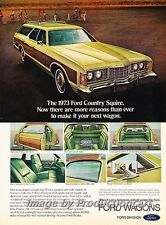 1973 Ford LTD Country Squire Wagon Original Advertisement Print Art Car Ad H64