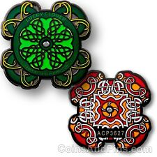 Celtic Design Lucky Clover Geocoin For Geocaching