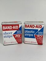 Vintage Johnson & Johnson Band-Aid Brand Bandages Empty Metal Tin Lot Of 2