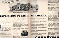 1943 2 PAGE ORIGINAL VINTAGE GOOD YEAR TIRE MAGAZINE AD
