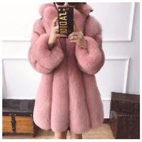 Women's Real Vulpes Fox Fur Coat Big Lapel Overcoat Thick Loose Warm Outerwear