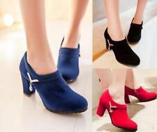 New Womens Rhinestones Stylish Chunky heel side zip wedding Court shoes pump Sz