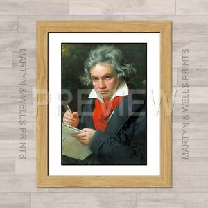 Joseph Stieler framed print: Beethoven. 400mm x 325mm. Textured canvas paper.