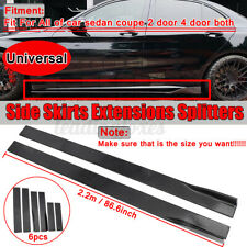 2.2M Universal Black Car Side Skirts Body Extensions Rocker Panel Splitters UK
