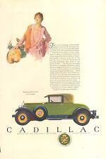 1927 CADILLAC COUPE GREEN + BLUE ORIG VINTAGE AD