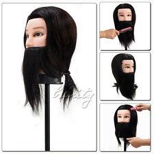 100% REAL HUMAN HAIR + BEARD SALON HAIRDRESSING MALE TRAINING HEAD WITH CLAMP