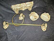 ancien ensemble de salle de bain en faïence-éléments vintage avec console-fleurs