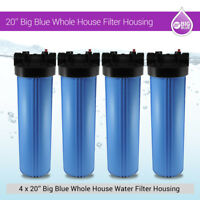 """20"""" Big Blue Whole House Water System Filter Housing With Pressure Gauge Hole 1"""""""