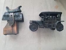 Vintage Collectible Brass Horse Saddle & Antique Car Pencil Sharpener