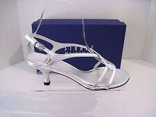 Stuart Weitzman Reversal Silver Supple Kid Leather Strappy Heels Sandals 7 B NEW