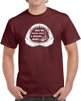 230 Bigger Boat mens T-shirt funny movie 70s quote shark cool quints jaws retro