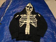 Black Skeleton Hooded Hallowen Costume Sweatshirt w/ Mask Hood Size 4-5 CHILD