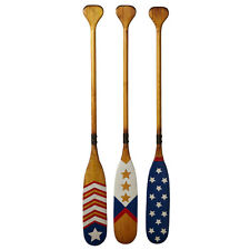 Americana Nautical Wood Boat Oar Set Wall Art Decor Vintage Style Coastal 47''L