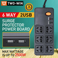 Power Board 6 Way Outlets Socket 2 Usb Charging Charger Ports w/Surge Protector