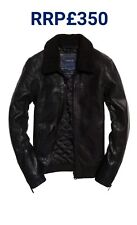 NEW RRP£350 L SIZE MENS SUPERDRY IE ICONIC SHERPA COLLAR LEATHER FLIGHT JACKET
