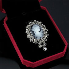 Vintage Cameo Victorian Style crystal Wedding Party Women Pendant Brooch Pin HU