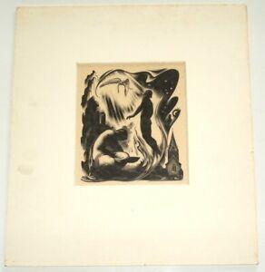 AGNES MILLER PARKER - Gray's Elergy - original wood print