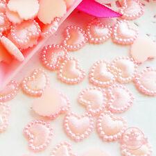 40 pcs 10mm Heart Pearlized Flatback Cabochon Decoden Faux Pearl