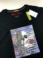 Robert Graham Skull Wolf Rose Print Graphic T Shirt Crew Neck Black XL 2XL